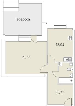 Планировка Однокомнатная квартира площадью 55.16 кв.м в ЖК «Мелодия»