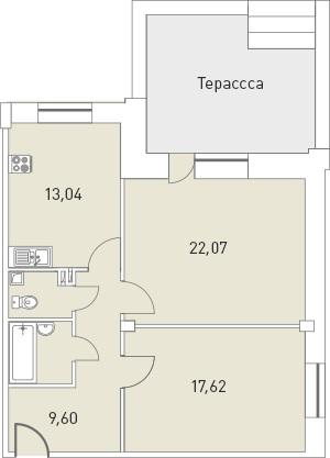 Планировка Двухкомнатная квартира площадью 73.07 кв.м в ЖК «Мелодия»