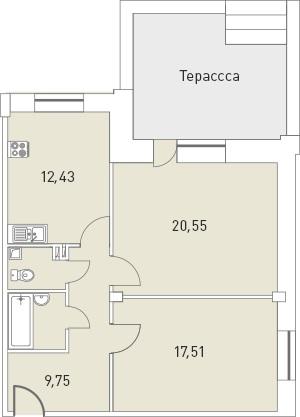Планировка Двухкомнатная квартира площадью 71.24 кв.м в ЖК «Мелодия»